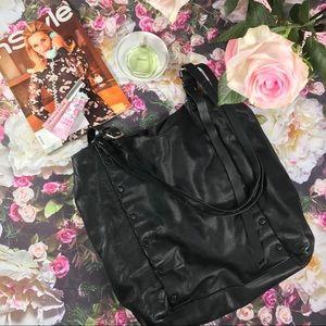 AllSaints Black Leather Tote Bag